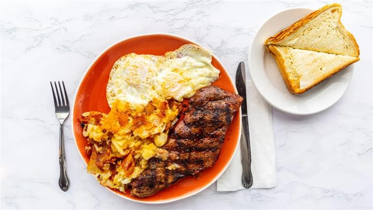 steak and eggs with a side of toast