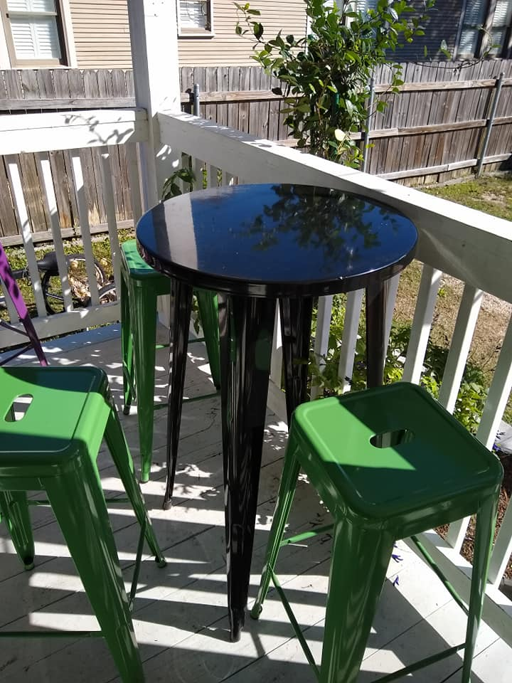 outdoor dining table with stools