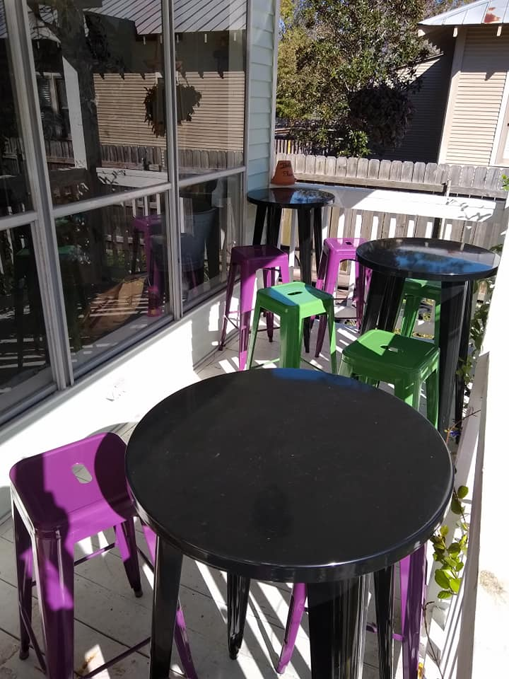 outdoor tables with stools