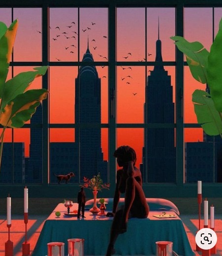 drawing of a table with candles surrounding it. silhouette of woman sitting on the table with city skyline through the windows in the background