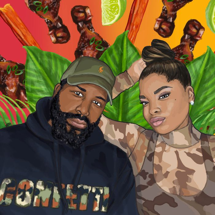 """painting of a man in hat and sweatshirt that says """"confetti"""" with a women next to him in a camouflage shirt. Banana leaves and chicken wings in the background."""