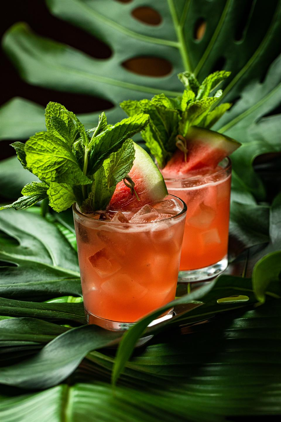 two cocktails in glass cups garnished with mint and a watermelon slice