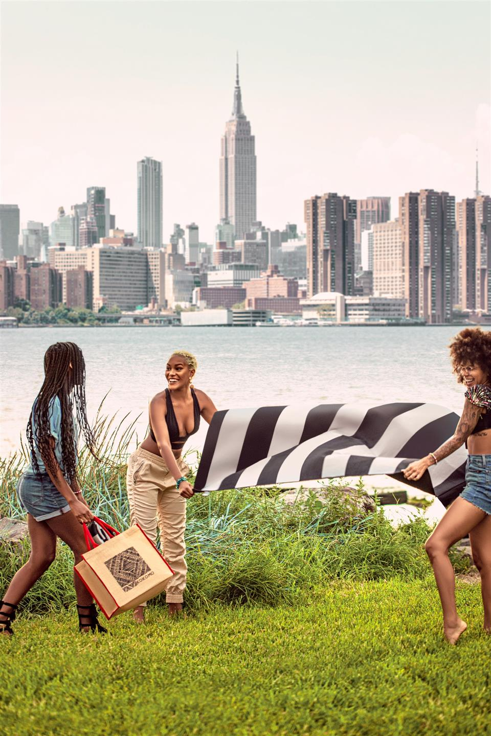 two girls putting a striped sheet down on the grass with a third girl holding a tote bag. City skyline and water in background.