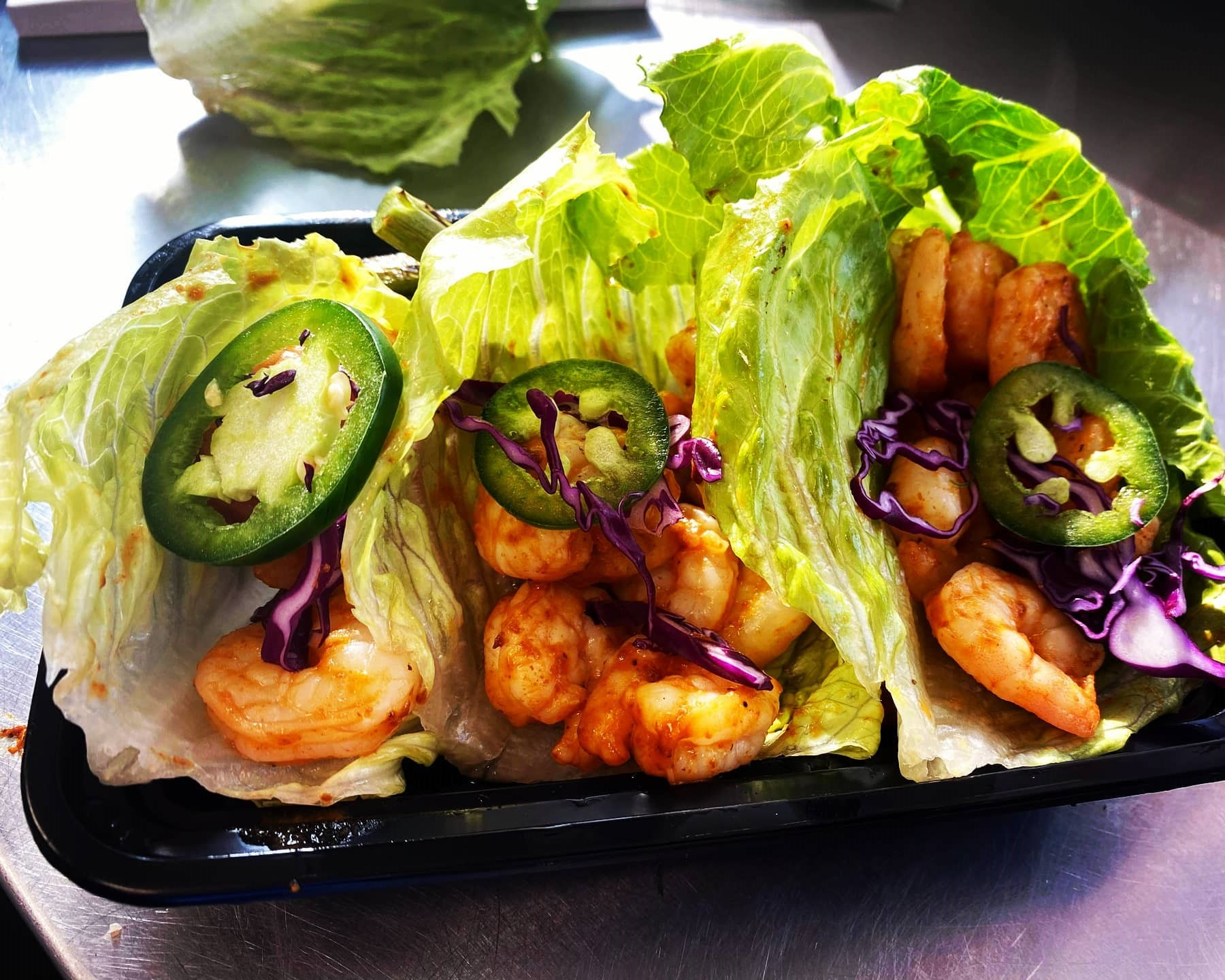 BLACK MAGIC SHRIMP Tacos: Spicy and grilled to perfection with oriental coleslaw
