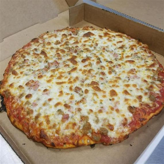 cheese pizza topped with sausage and extra cheese