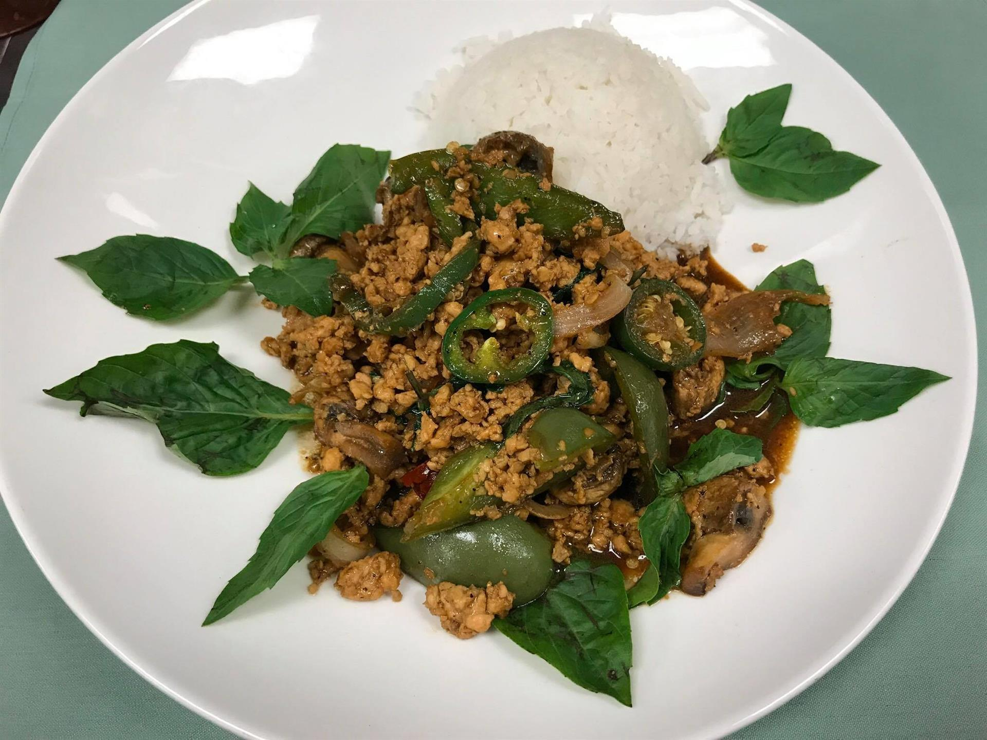 vegetables with rice and garnish