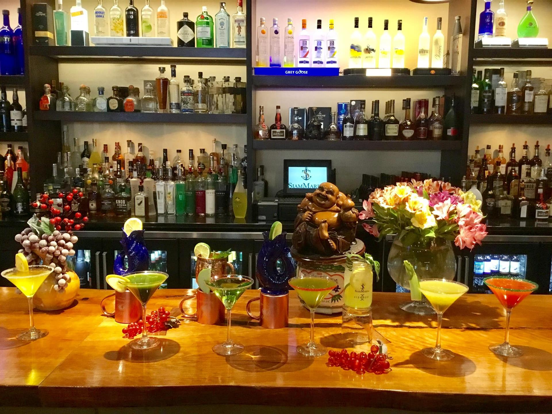 Bar with bottles and martini glasses