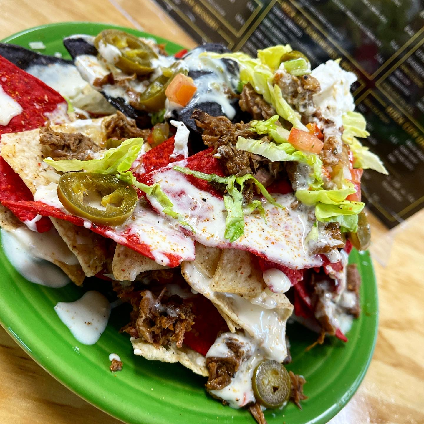 loaded nachos with pulled pork