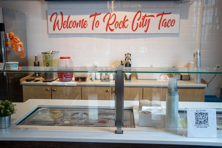 Food bar of Rock City Taco, welcome sign