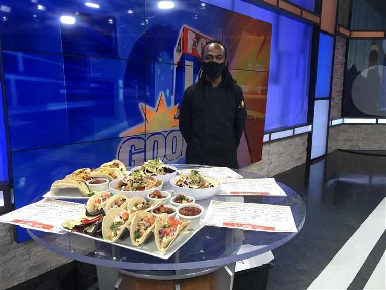 Chef on news with food from Rock City Taco