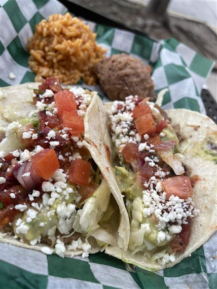 tacos with rice and beans on side