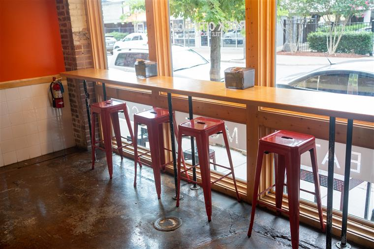 window seating with stools at Rock City Taco