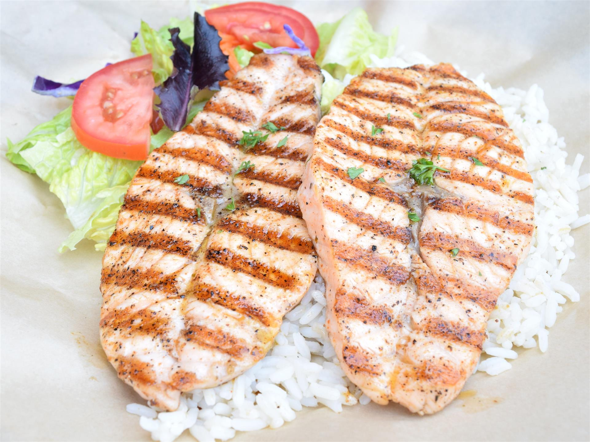 two grilled salmon filet's
