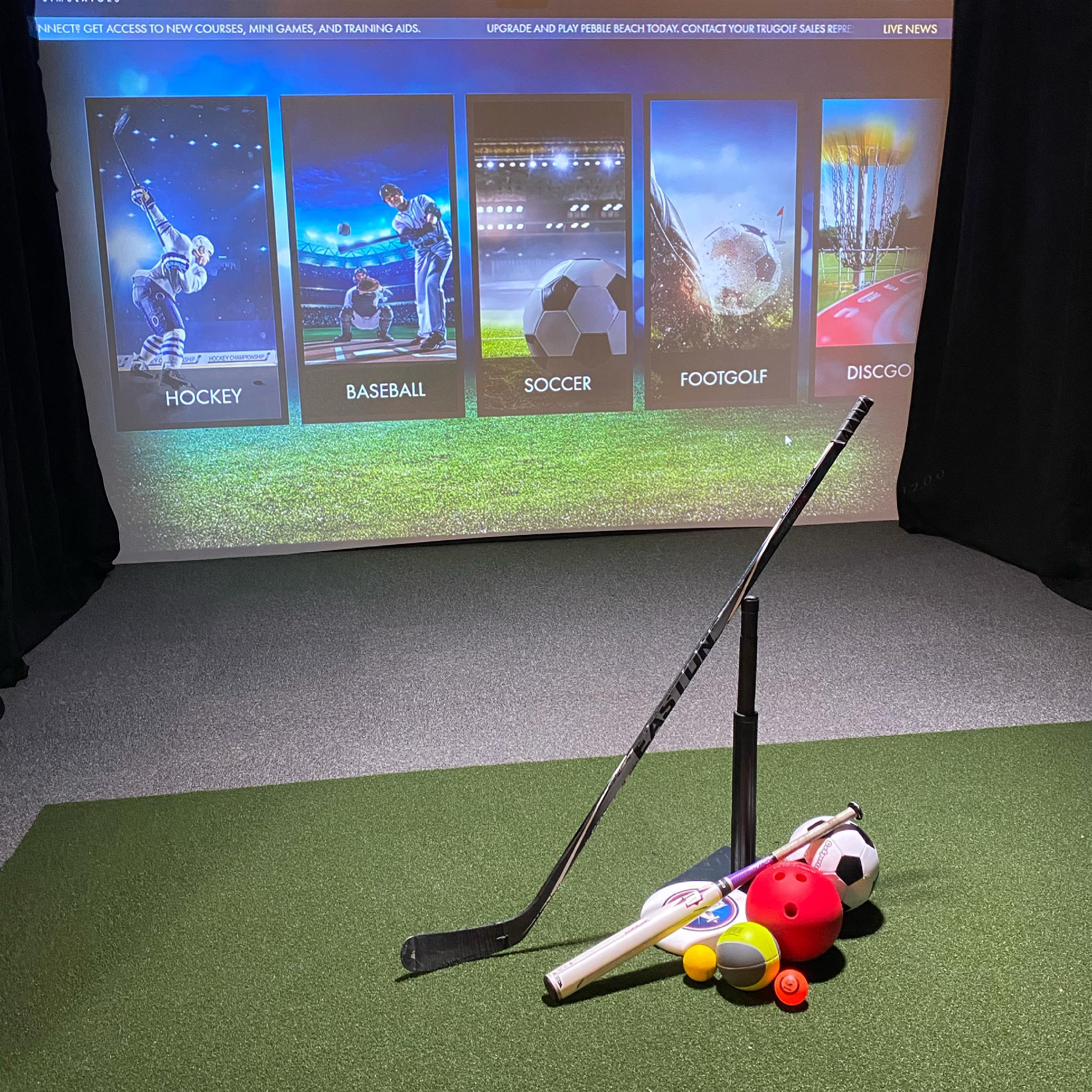 Simulator Suite with hockey stick, tee ball set, soccer ball, frisbee, bowling ball, and other sports equipment
