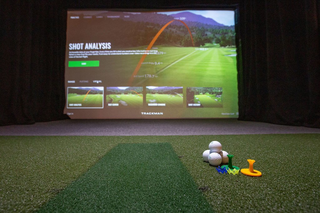 simulator suite with golf balls and tees