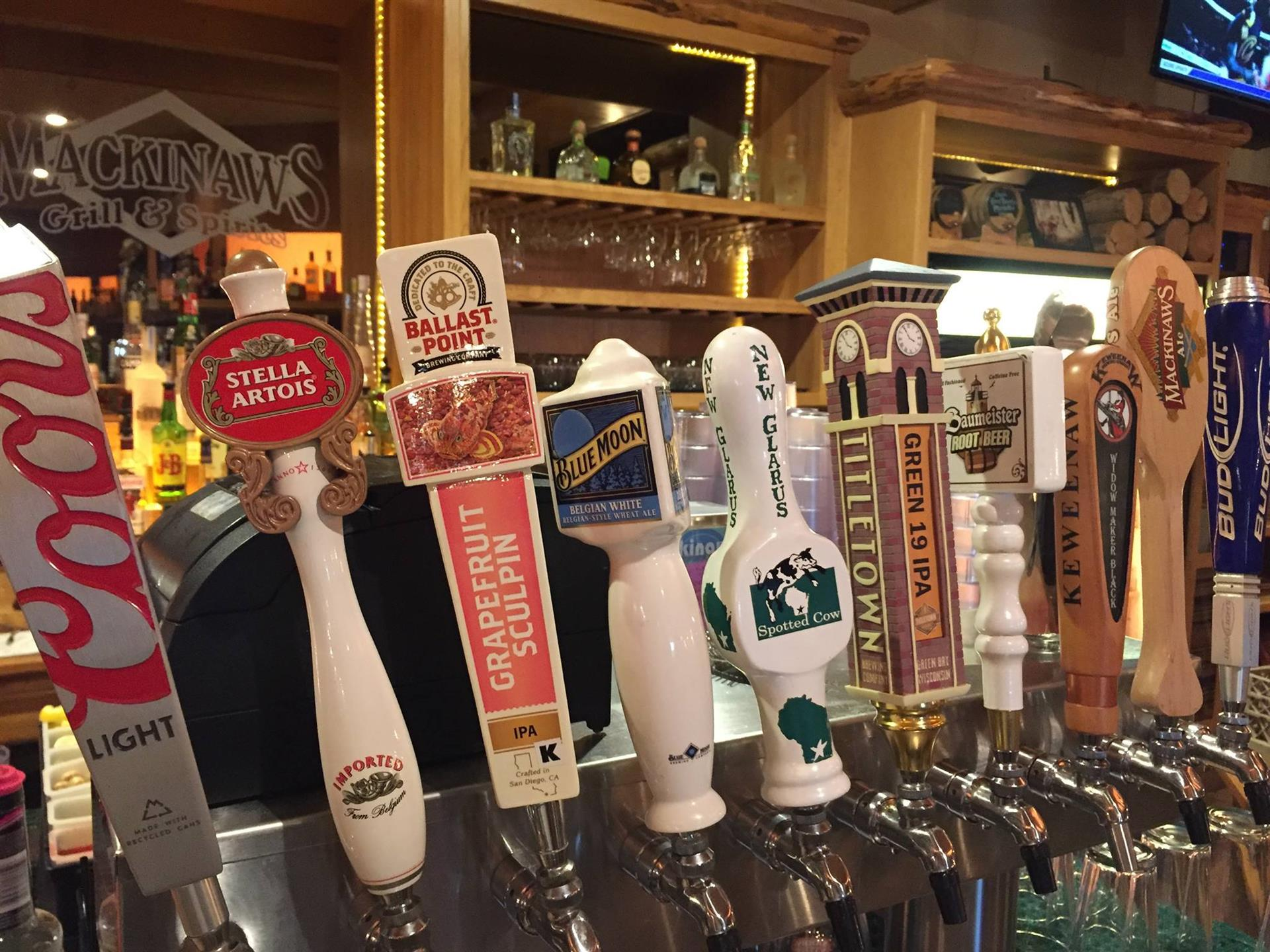 a variety of beers on tap