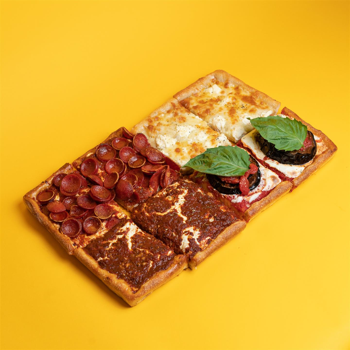 sicilian pie with assorted toppings