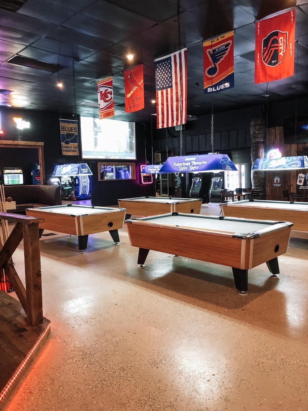 inside of the bullpen sports grill pool tables