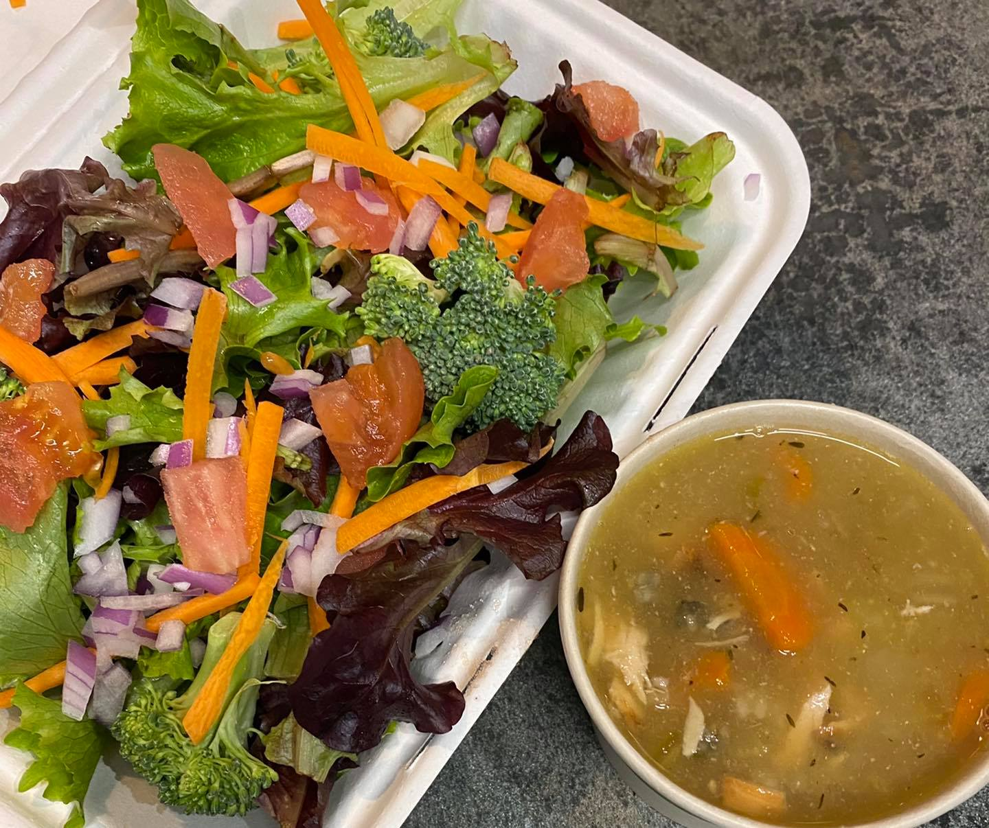chicken and Wild rice soup and fresh garden salad
