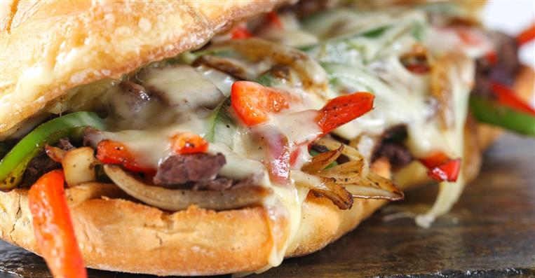 philly cheesesteak with peppers & onions