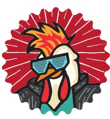 Thwing Wing Cartoon character of a chicken wearing sunglasses.