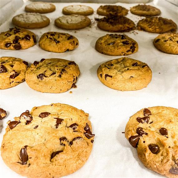 tray of chocolate chip cookies