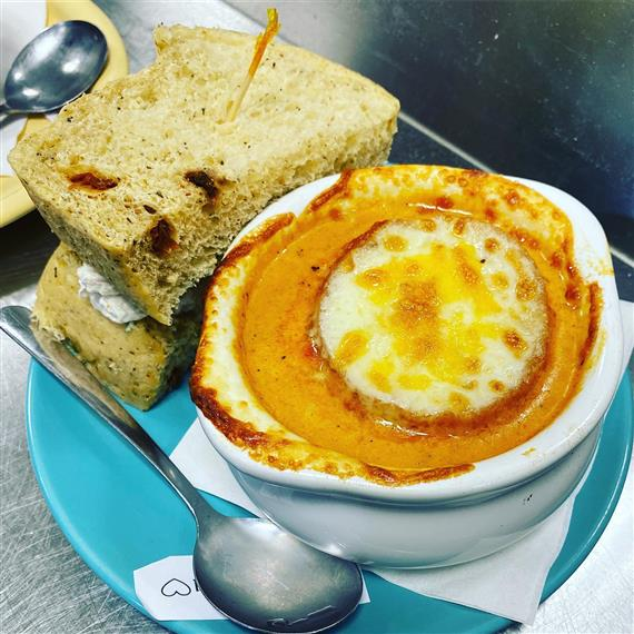sandwich paired with soup