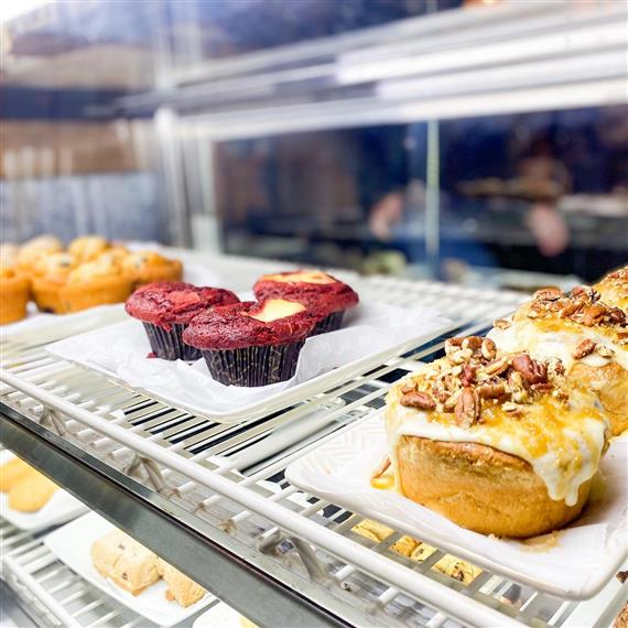 tray of muffins and pastries