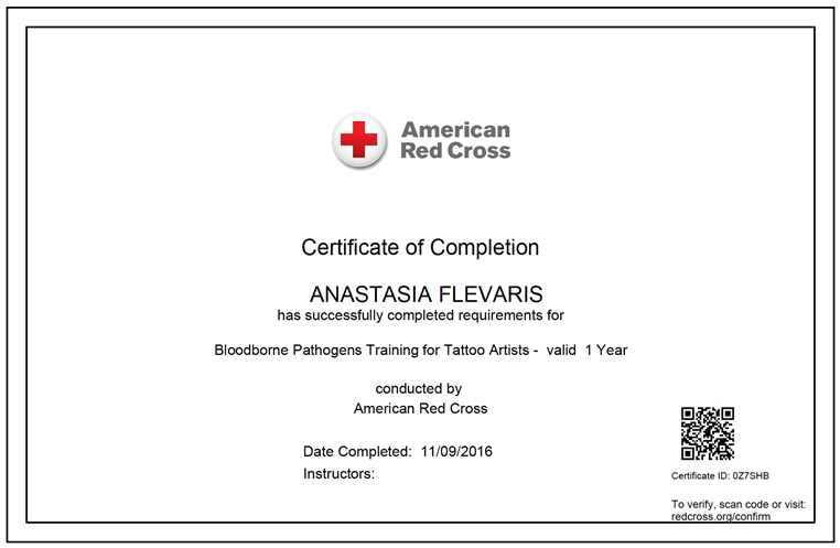 american redcross certificate of completion