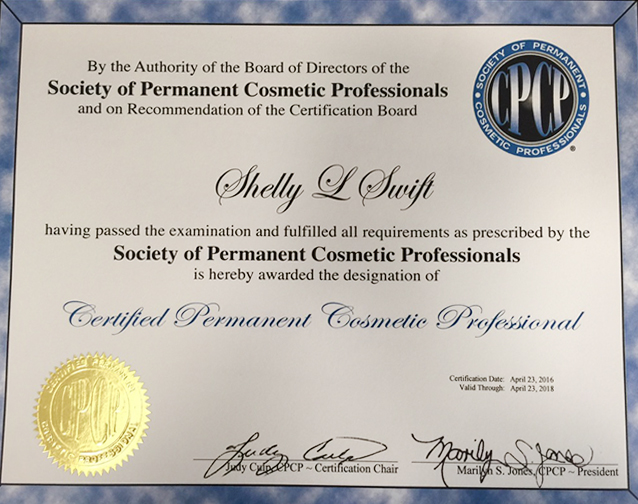 certificate for society of permanent cosmetic professionals