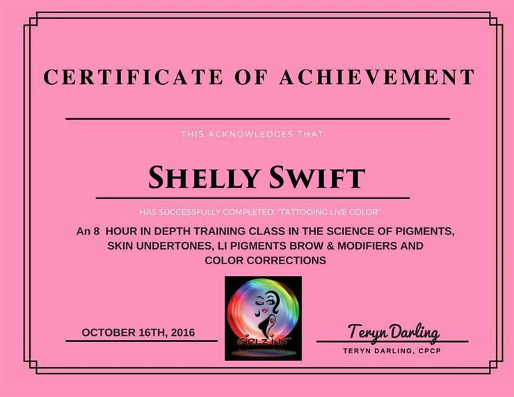 certificate of achievement shelly smith for the science of pigments