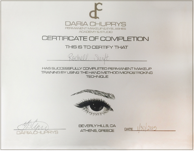 certificate of completion for permanent makeup training