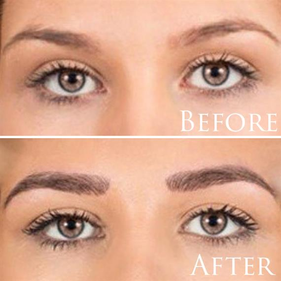 before an after of eyebrow tattoos