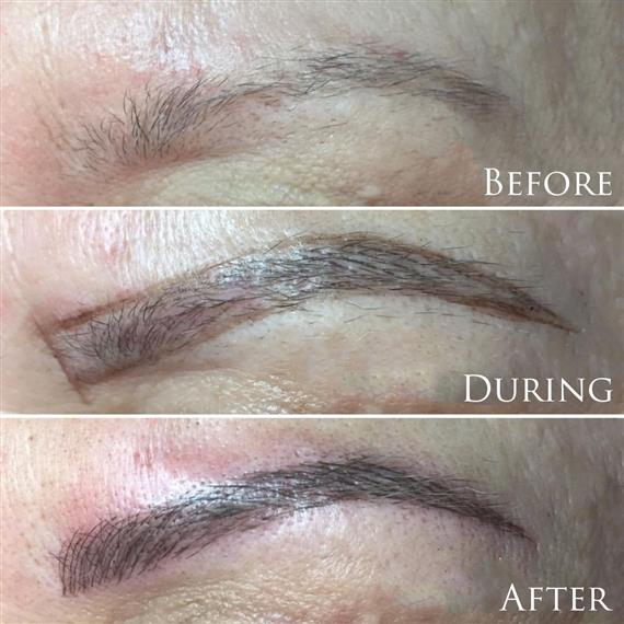 before an after of eyebrow tattoo progression