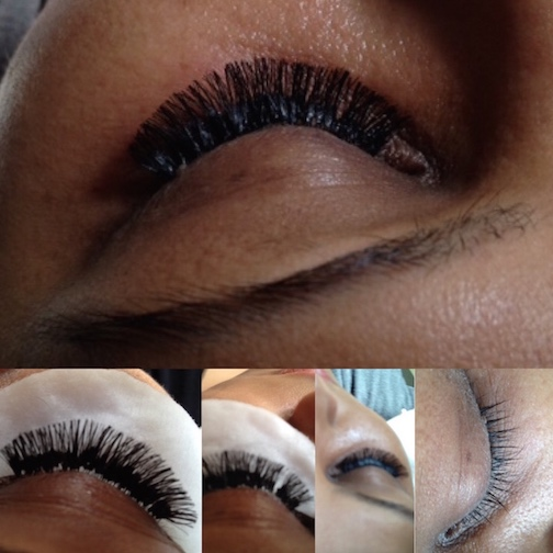 corrective work done on eyelash extensions