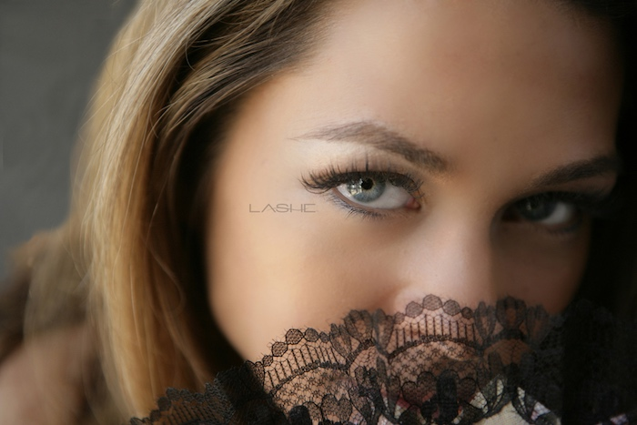 close up of girls face with lash extensions