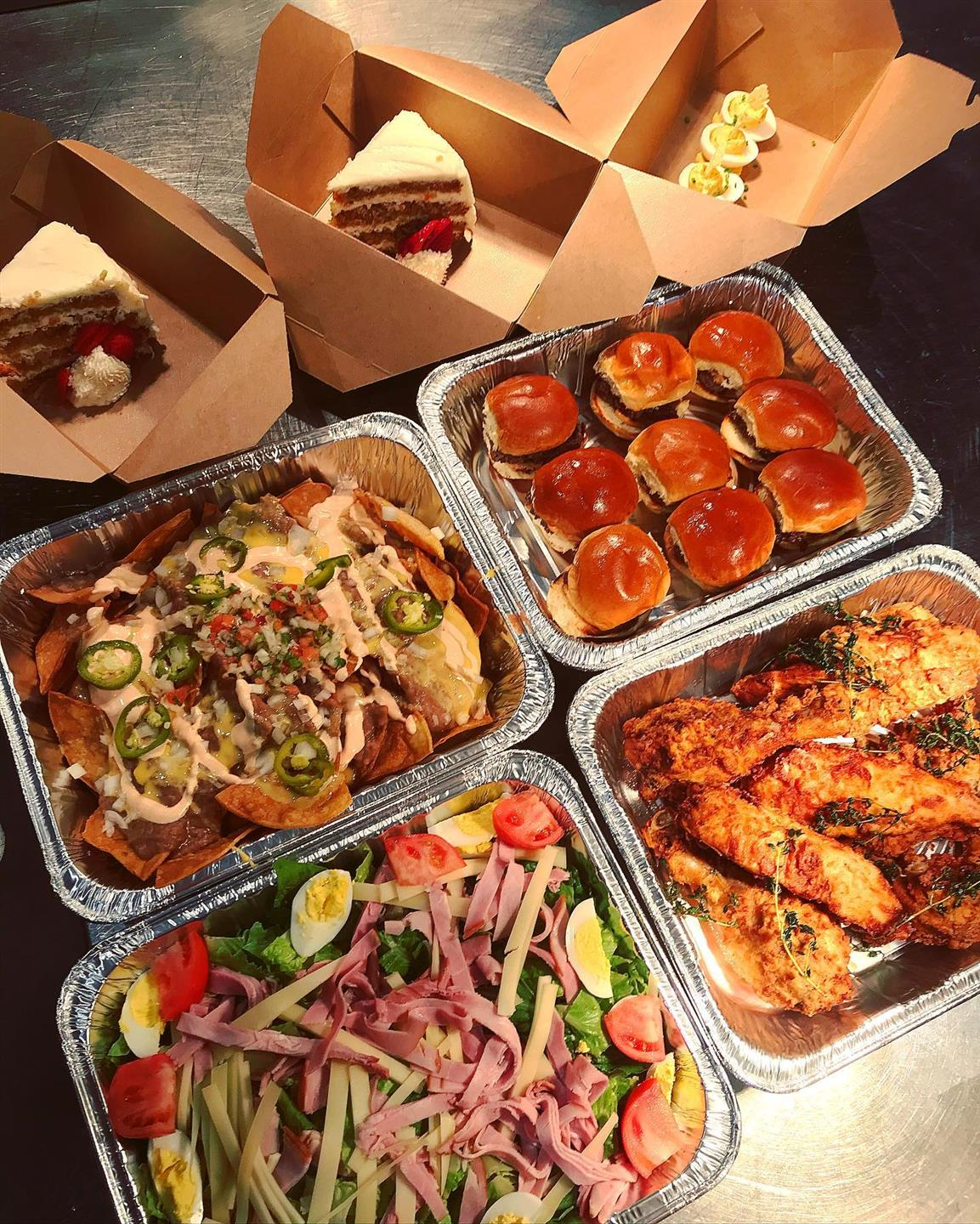 entrees in to-go containers