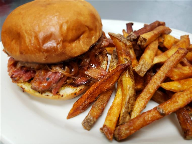 pulled pork combo sandwich with fries