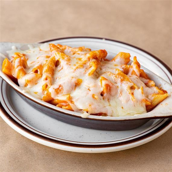 Penne Pasta mixed with marinara sauce and cheese, then baked