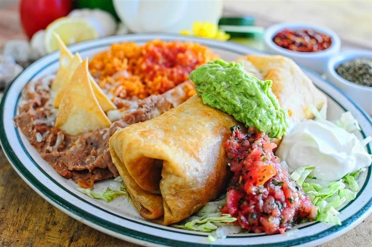 A flour tortilla filled with your choice of soy, vegetables or beans and deep fried to a  golden brown.
