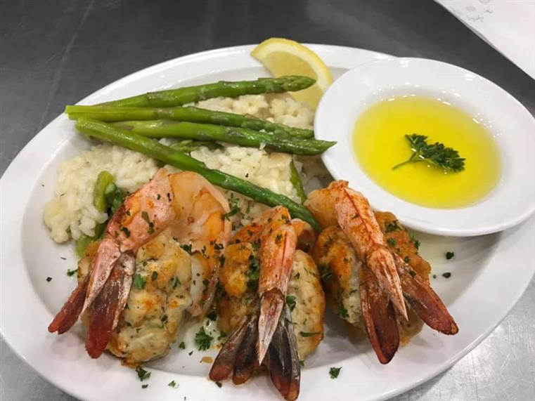 3 jumbo shrimp stuffed with Maryland crab stuffing, with Parmesan & asparagus Risotto