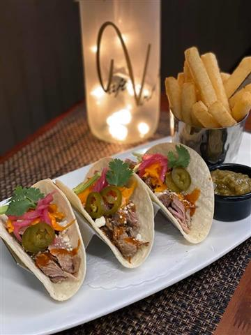 Slow Cooked Pork Carnitas served with Fresh Cut Yuca Fries