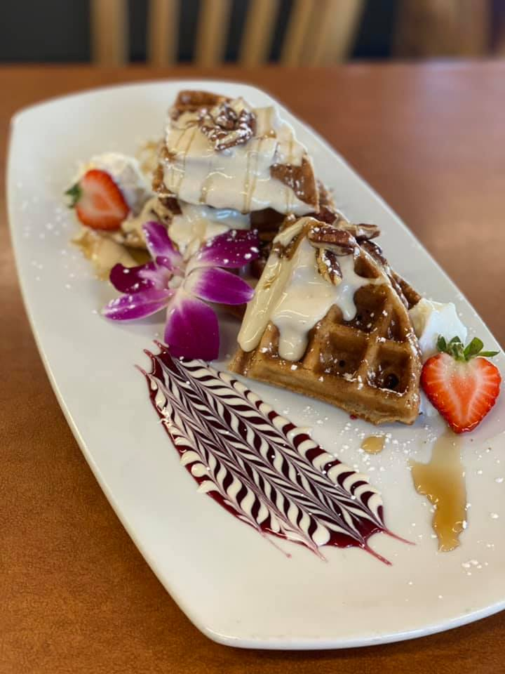 Caramel, Cinnamon Waffle smothered in a Maple Rumchata glaze, topped with toasted pecans