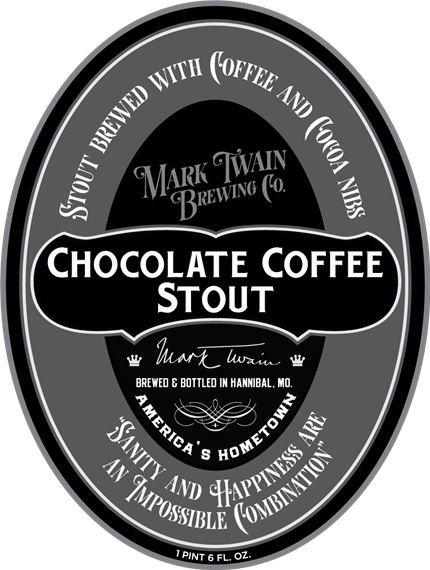 """chocolate coffee stout. stout brewed with coffee and cocoa nibs. mark twain. brewed & bottled in Hannibal, MO. america's hometown. """"sanity and happiness are an impossible combination."""" 1 pint 6 FL OZ"""