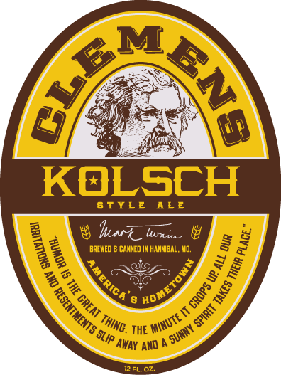 """Kolsch style ale. clemens. mark twain. brewed & bottled in Hannibal, MO. america's hometown. """"humor is the great thing. the minute it crops up, all out irritations and resentments slip away and a sunny spirit takes their place."""" 12 FL OZ"""