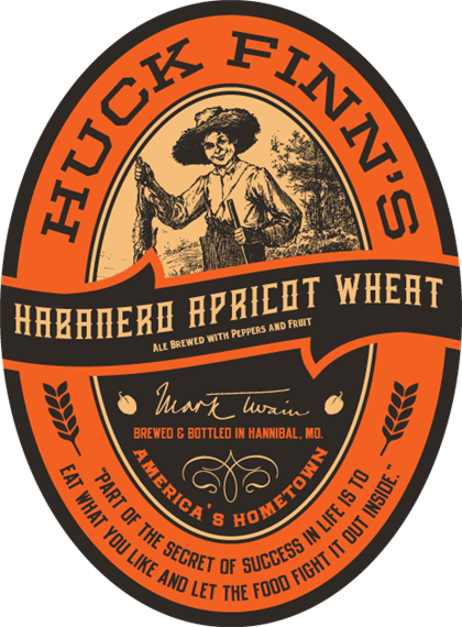 """Habanero apricot wheat ale brewed with peppers and fruit. clemens. mark twain. brewed & bottled in Hannibal, MO. america's hometown. """"part of the secret of success in life is to eat what you like and let the food fight it out inside."""""""