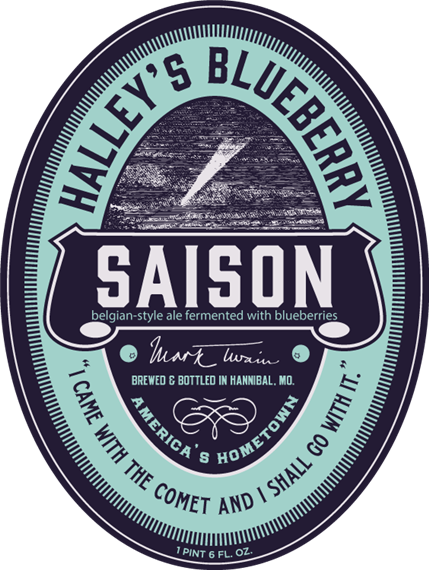 """saison belgian-style ale fermented with blueberries. halley's blueberry. mark twain. brewed & bottled in Hannibal, MO. america's hometown. """"i came with the comet and i shall go with it."""" 1 pint 6 FL OZ"""