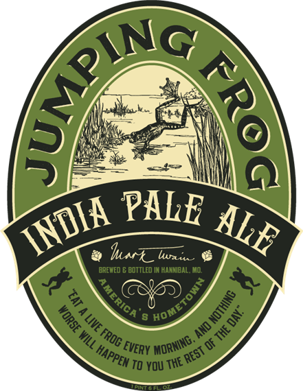 """india pale ale. jumping frog. mark twain. brewed & bottled in Hannibal, MO. america's hometown. """"eat a live frog every morning, and nothing worse will happen to you the rest of the day."""" 1 pint 6 FL OZ."""