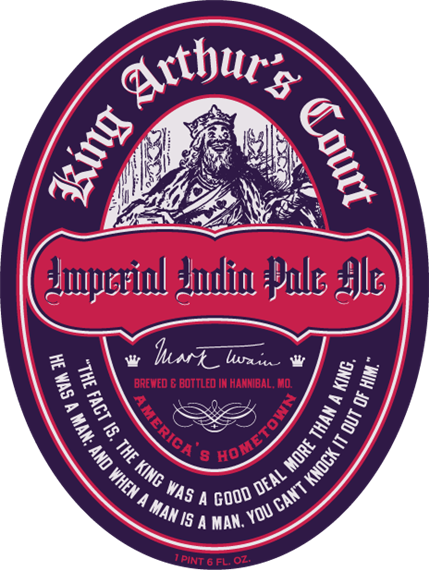 """imperial india pale ale. king arthur's court. mark twain. brewed & bottled in Hannibal, MO. america's hometown. """"the fact is, the king was a good deal more than a king. he was a man: and when a man is a man, you can't knock it out of him."""" 1 pint 6 FL OZ."""