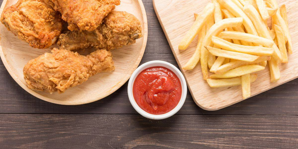 fried chicken, french fries and dipping sauce